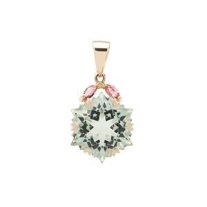 Wobito Snowflake Cut Prasiolite Pendant with Pink Tourmaline in 9K Gold 7.40cts