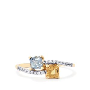 Natural Umba Sapphire Ring with White Zircon in 10K Gold 1.05cts