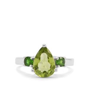 Changbai Peridot & Chrome Diopside Sterling Silver Ring ATGW 2.91cts