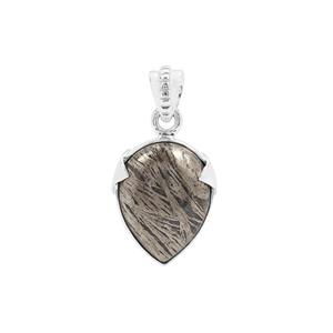 Feather Pyrite Pendant in Sterling Silver 17cts