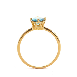 Ceylonese London Blue Topaz Ring in Gold Tone Sterling Silver 1.02cts