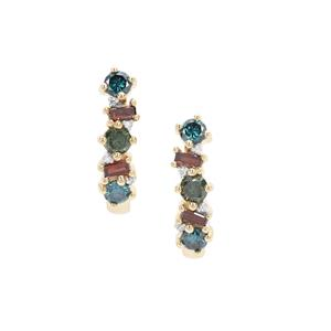 Multi-Colour Diamond Earrings in 9K Gold 0.75ct