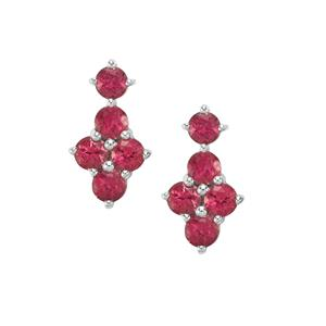 1.69ct Cruzeiro Rubellite Sterling Silver Earrings