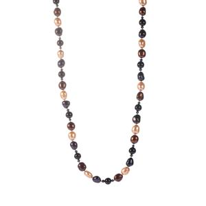 Kaori Cultured Pearl Endless Necklace with Black Agate
