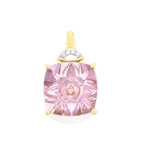 Lehrer QuasarCut Rose De France Amethyst Pendant with Diamond in 10K Gold 5.23cts