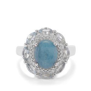 Thor Blue Quartz Ring with Sky Blue Topaz in Sterling Silver 3.83cts