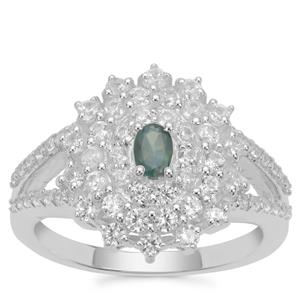 Alexandrite Ring with White Zircon in Sterling Silver 1.36cts
