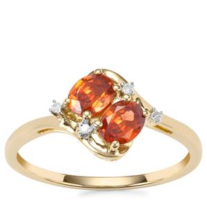 Capricorn Zircon Ring with Diamond in 9K Gold 1.10cts