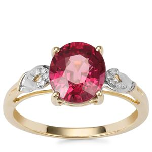 Malawi Garnet Ring with Diamond in 10K Gold 2.87cts