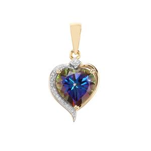 Mystic Blue Topaz Pendant with Diamond in 10K Gold 4.18cts