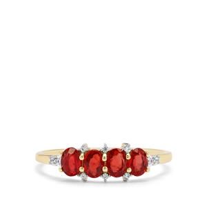 Songea Ruby & White Zircon 9K Gold Ring ATGW 0.94ct