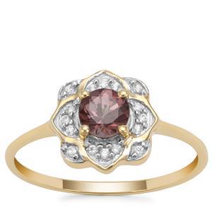 Bekily Colour Change Garnet Ring with White Zircon in 9K Gold 0.70ct