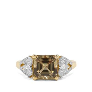 Asscher Cut Csarite® Ring with Diamond in 18K Gold 3.03cts