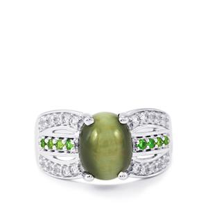 Cat's Eye, Chrome Diopside & White Topaz Sterling Silver Ring ATGW 4.29cts