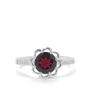 Octavian Garnet & White Zircon Sterling Silver Ring ATGW 1.96cts