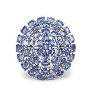 10.14ct Daha Kyanite Platinum Plated Sterling Silver Ring