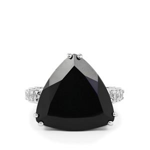 Black Spinel & White Topaz Sterling Silver Ring ATGW 20.78cts