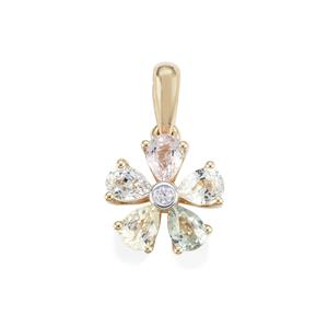 Natural Sakaraha Rainbow Sapphire Pendant with White Zircon in 10K Gold 1.10cts