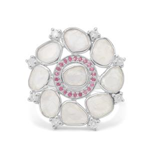 Rainbow Moonstone Ring with Burmese Ruby in Sterling Silver 4.55cts