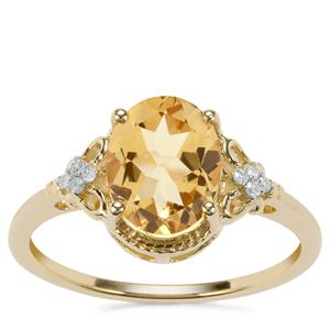 Mansa Beryl Ring with Diamond in 9K Gold 1.70cts
