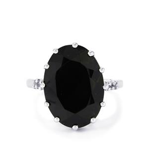 Black Spinel & White Topaz Sterling Silver Ring ATGW 16.16cts