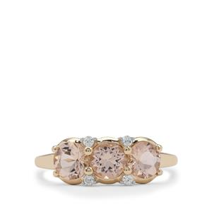 Cherry Blossom™ Morganite Ring with White Zircon in 9K Gold 1.25cts