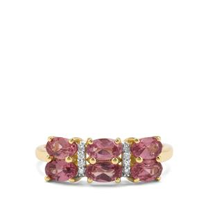 Malaya Garnet & Diamond 9K Gold Ring ATGW 1.84cts