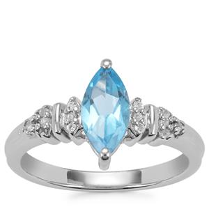 Swiss Blue Topaz Ring with White Topaz in Sterling Silver 1.28cts