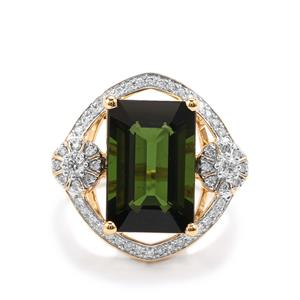 Green Tourmaline Ring with Diamond in 18k Gold 6.41cts