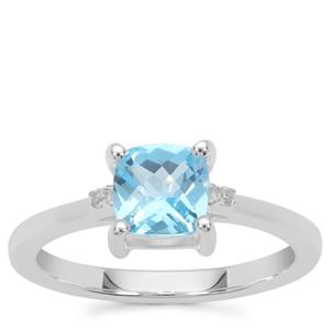 Swiss Blue Topaz Ring with White Zircon in Sterling Silver 1.26cts
