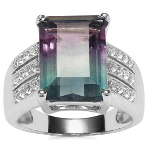 Zebra Fluorite Ring with White Topaz in Sterling Silver 9.39cts