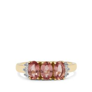 Rosé Apatite Ring with White Zircon in 9K Gold 1.40cts