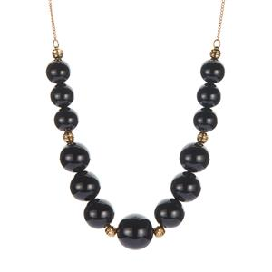 Black Onyx Graduated Necklace in Gold Tone Sterling Silver 74cts