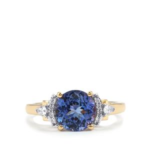 Bi Color Tanzanite Ring with Diamond in 18k Gold 2.29cts