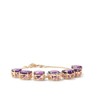 Moroccan Amethyst Bracelet with Diamond in 18K Gold 21.69cts