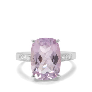 Rose De France Amethyst & White Zircon Sterling Silver Ring ATGW 6.59cts