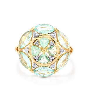 Paraiba Tourmaline Ring with Diamond in 10k Gold 2.53cts