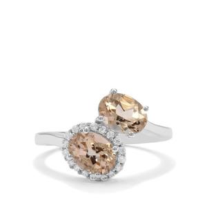 Champagne Danburite & White Zircon Sterling Silver Ring ATGW 2.70cts