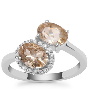 Champagne Danburite Ring with White Zircon in Sterling Silver 2.70cts