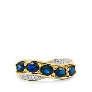 Australian Blue Sapphire Ring with Diamond in 14k Gold 1.83cts