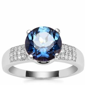 Hope Topaz Ring with White Zircon in Sterling Silver 3.33cts