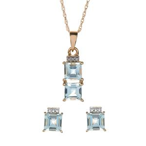 Pedra Azul Aquamarine & Diamond 9K Set of Pendant, Earrings and Chain ATGW 4.04cts