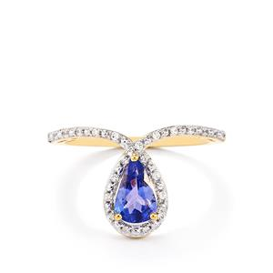 AA Tanzanite Ring with White Zircon in 10k Gold 0.93cts