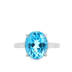5.85ct Swiss Blue Topaz Sterling Silver Ring