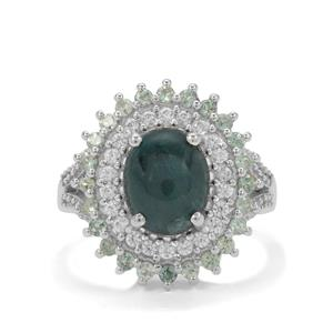 Grandidierite, Alexandrite & White Zircon Sterling Silver Ring ATGW 4cts
