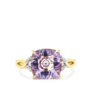 Lehrer KaleidosCut Rose Topaz, Ceylon Sapphire Ring with Diamond in 10K Gold 4.27cts