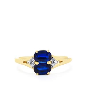 Daha Kyanite Ring with Diamond in 10k Gold 1.35cts