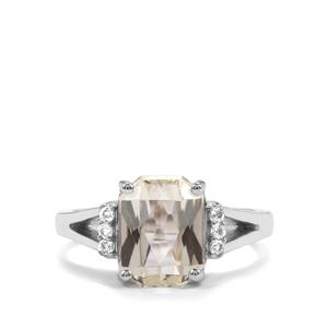 Green Kunzite Ring with White Topaz in Sterling Silver 3.74cts