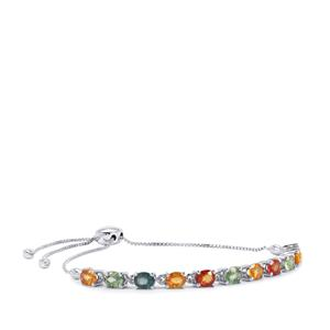 Rainbow Sapphire Slider Bracelet in Sterling Silver 5.27cts