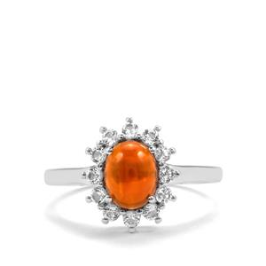 American Fire Opal Ring with White Topaz in Sterling Silver 1.59cts